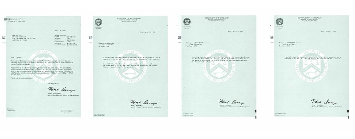 Samples of U.S. Residency Certifications – Form 6166